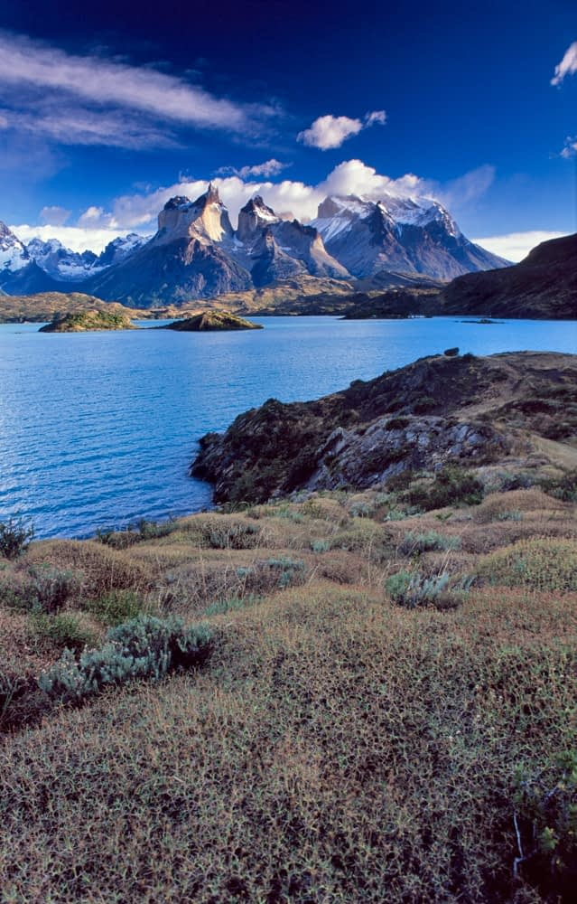 Lago Pehoe and the Paine massif, Torres del Paine National Park, Patagonia, Chile.