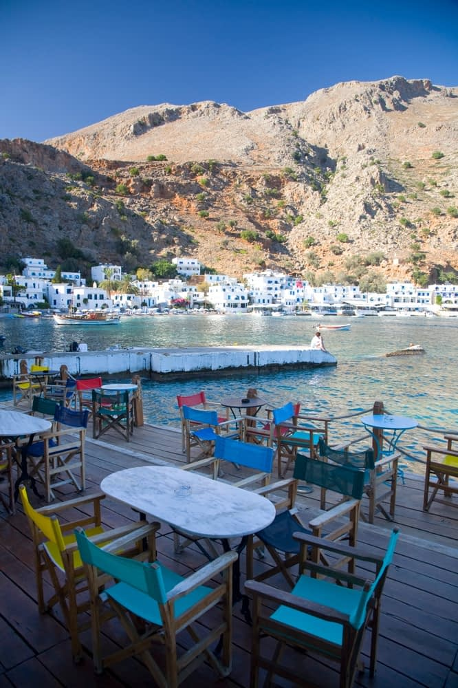 Loutro village and seafront, Crete, Greece.