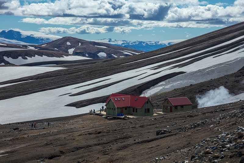 The FI mountain hut at Hrafntinnusker, along the Laugavegur hiking trail. Central Highlands, Sudhurland, Iceland.