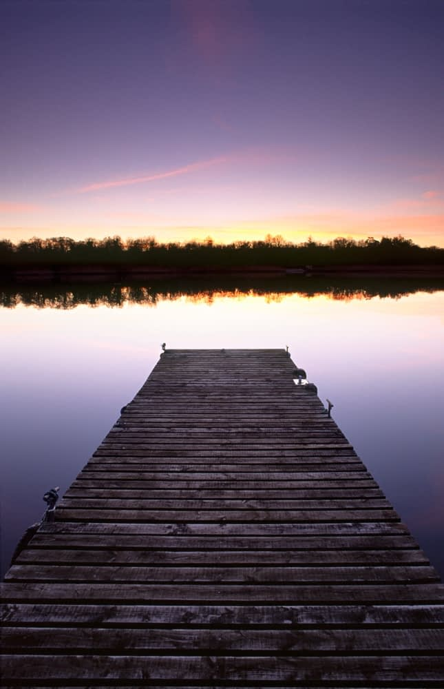 Jetty at dusk, Lower Lough Erne, Co Fermanagh, Northern Ireland.