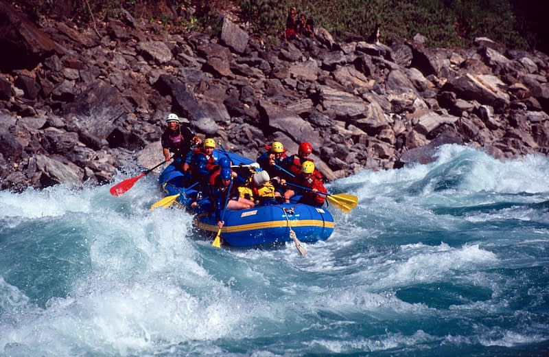 Rafters on Jailhouse Rock rapid (grade 5), Karnalli River, Western Nepal.