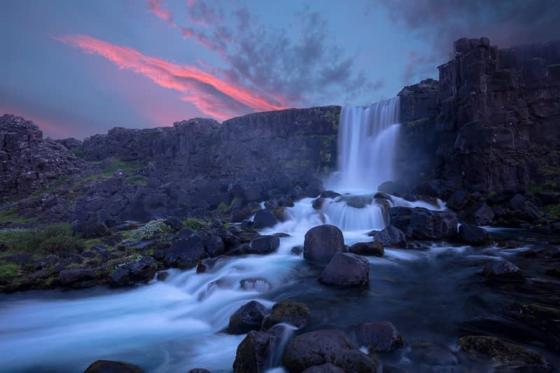 Dusk at Oxararfoss waterfall, Pingvellir National Park, south Iceland.