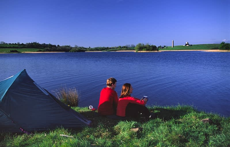 Camping near Devenish Island, Lower Lough Erne, Co Fermanagh, Northern Ireland.