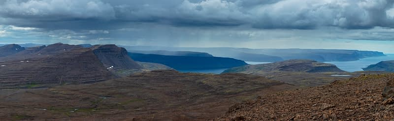 View towards Arnarfjordur from Dynjandisheidi mountain road. Westfjords, Iceland.