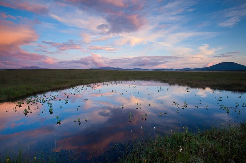 Bog pool reflection at sunset, Ballycroy National Park, County Mayo, Ireland.