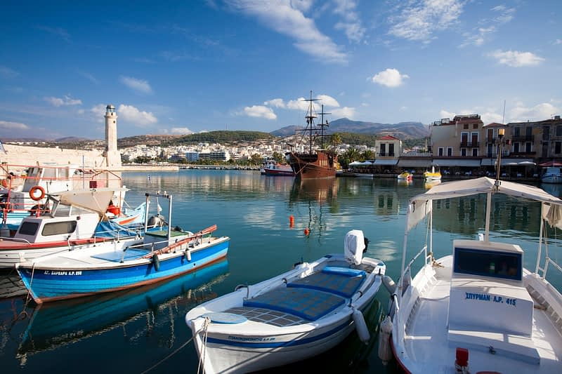 Fishing boats in the Venetian harbour, Rethymnon, Crete, Greece.