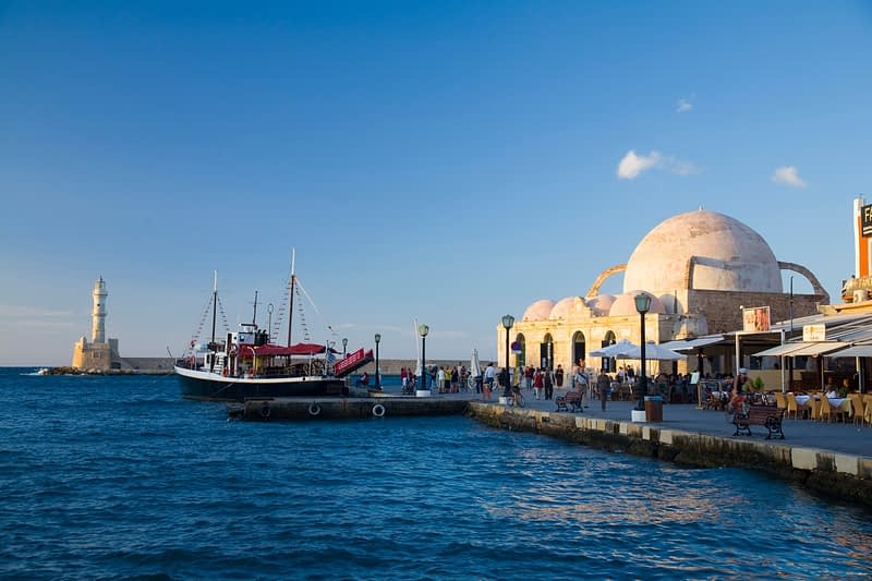 Hania seafront, including the Mosque of the Janissaries, Crete, Greece.