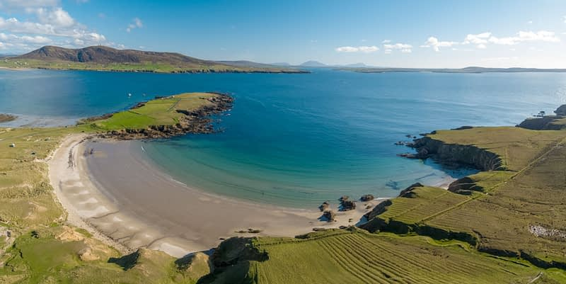 Aerial view over the beach at Binroe Point, Carrowteige, County Mayo, Ireland.