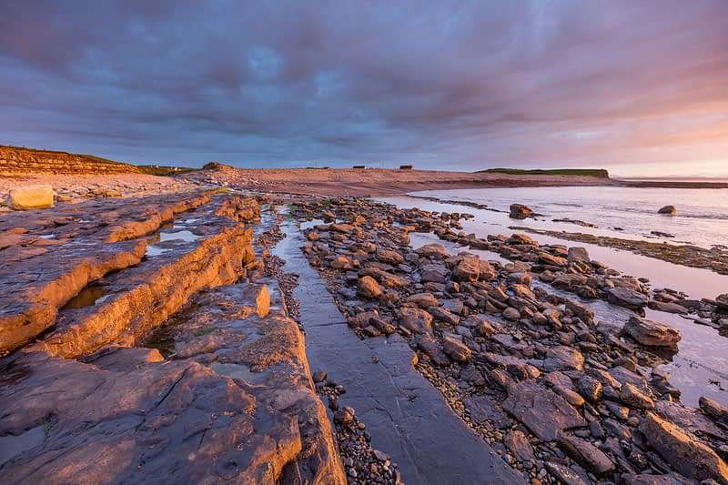 Coastal sunset near Enniscrone, Killala Bay, County Sligo, Ireland.