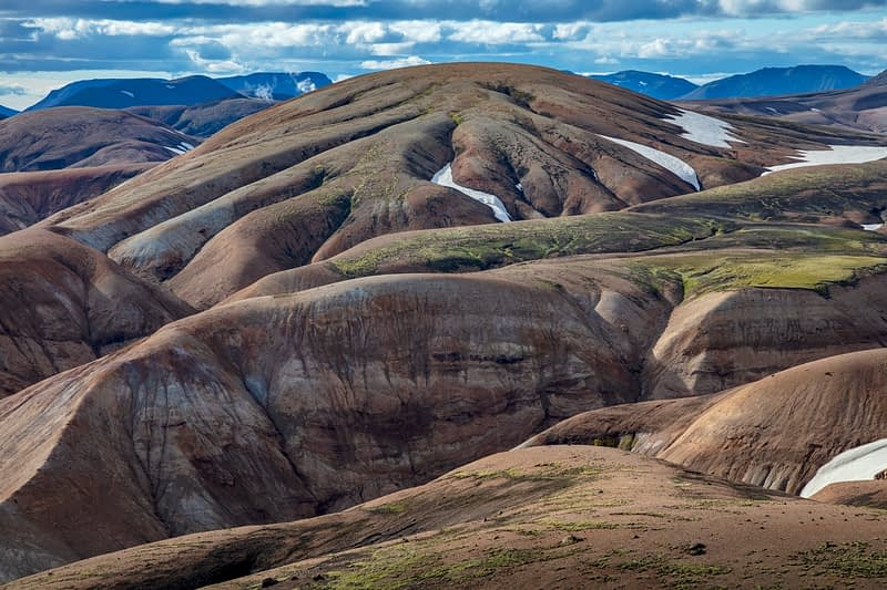 Rhyolite mountains along the Laugavegur trail  near Landmannalaugar. Central Highlands, Sudhurland, Iceland.