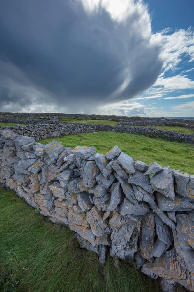 Stone walls and fields on Inishmore, Aran Islands, County Galway, Ireland.