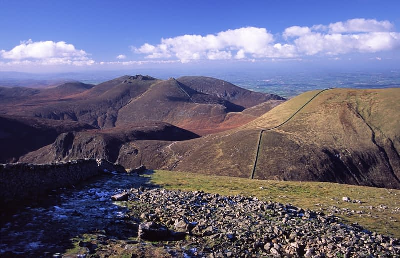 View of the Mourne Mountains from Slieve Donard, Co Down, Northern Ireland.