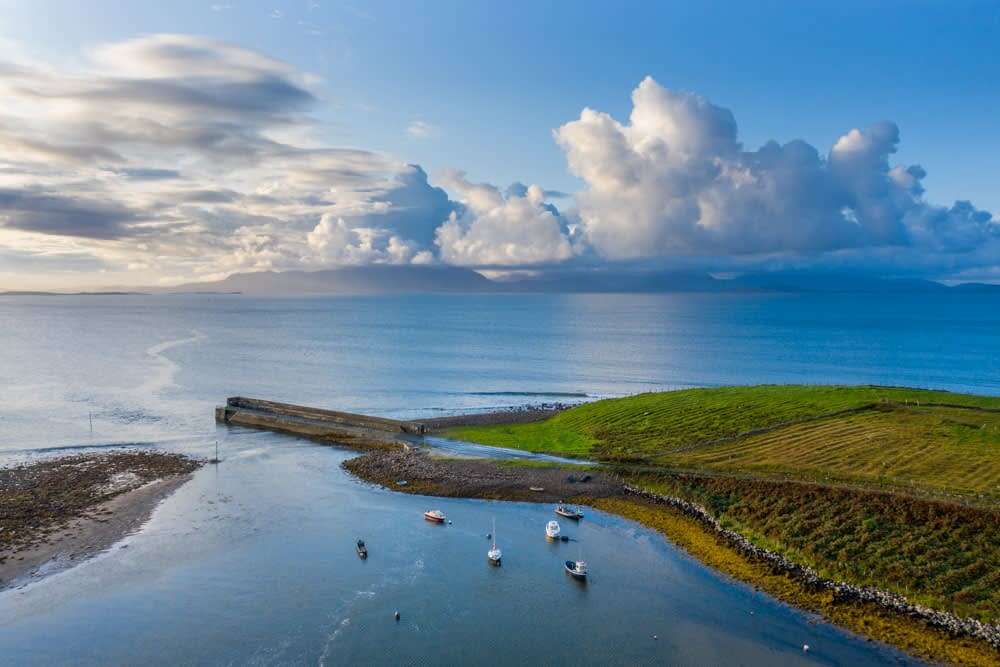 Aerial view of Mulranny pier, County Mayo, Ireland.