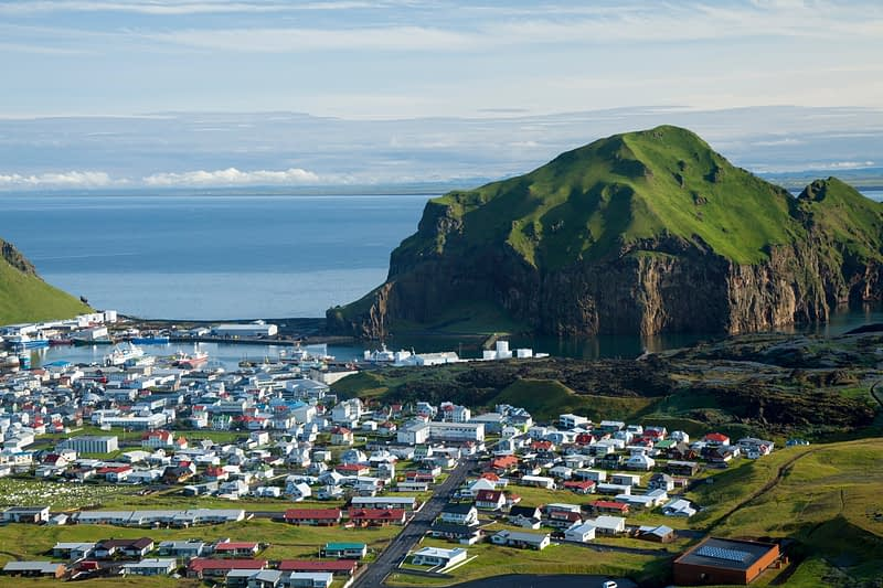View across Heimaey town, Heimaey, Westman Islands, Sudhurland, Iceland.
