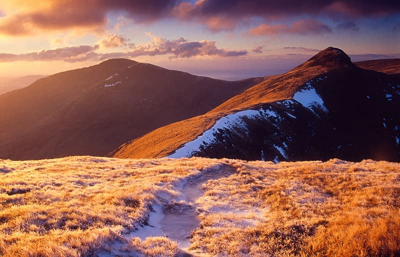 Winters evening on Ben Lugmore and Mweelrea, Co Mayo, Ireland.