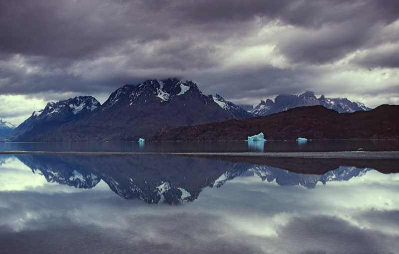 The Paine massif reflected in Lago Grey, Torres del Paine NP, Patagonia, Chile.