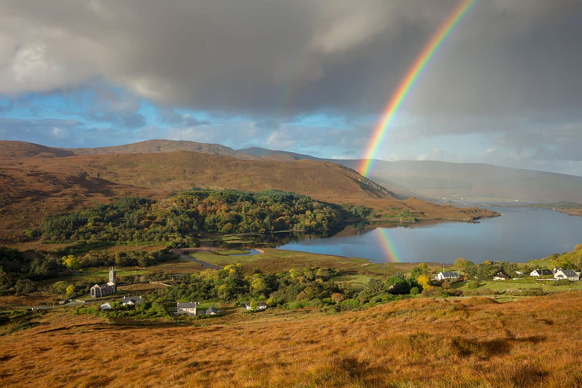 Rainbow over Dunlewy Lough and the Derryveagh Mountains. Dunlewy, County Donegal, Ireland.