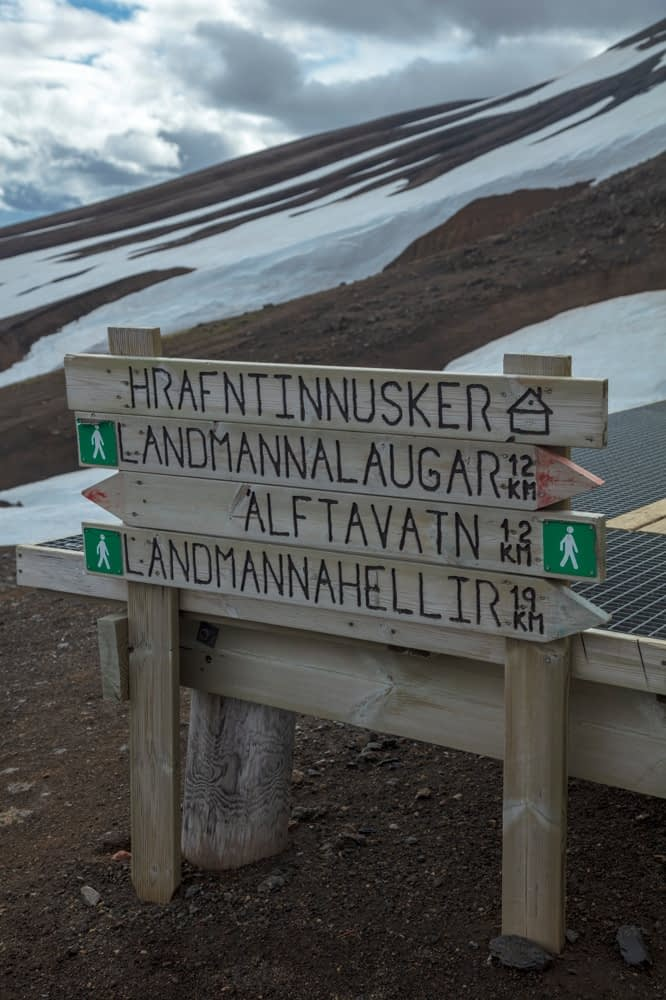 Hiking signpost beside the FI mountain hut at Hrafntinnusker. Laugavegur hiking trail, Central Highlands, Sudhurland, Iceland.