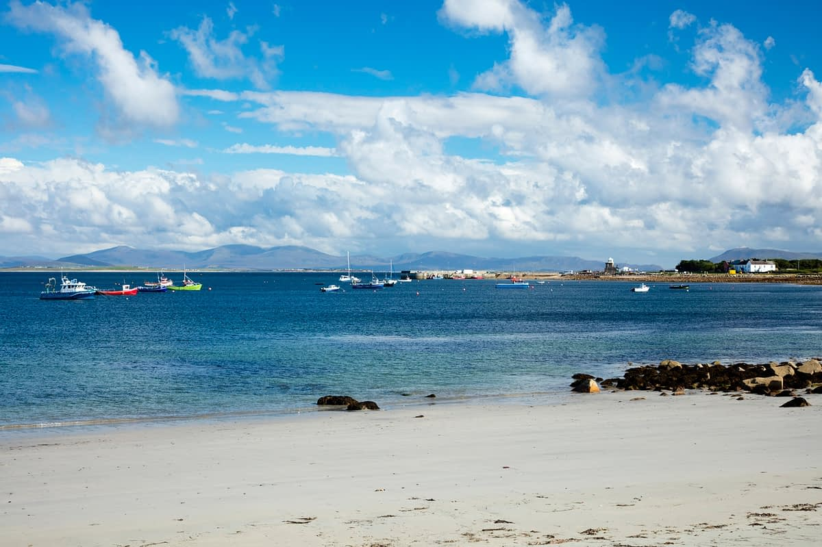 Beach and harbour at Blacksod Bay, Belmullet, County Mayo, Ireland.