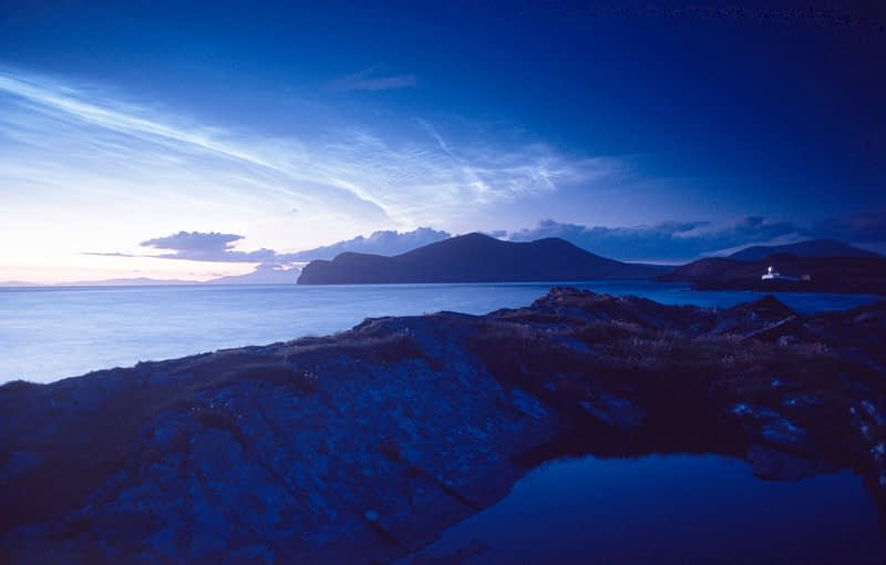 Noctilucent clouds, Valentia Island, Co Kerry, Ireland.