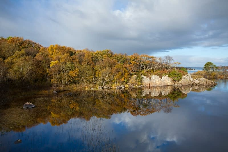 Autumn colours reflected in Lough Conn, Co Mayo, Ireland.