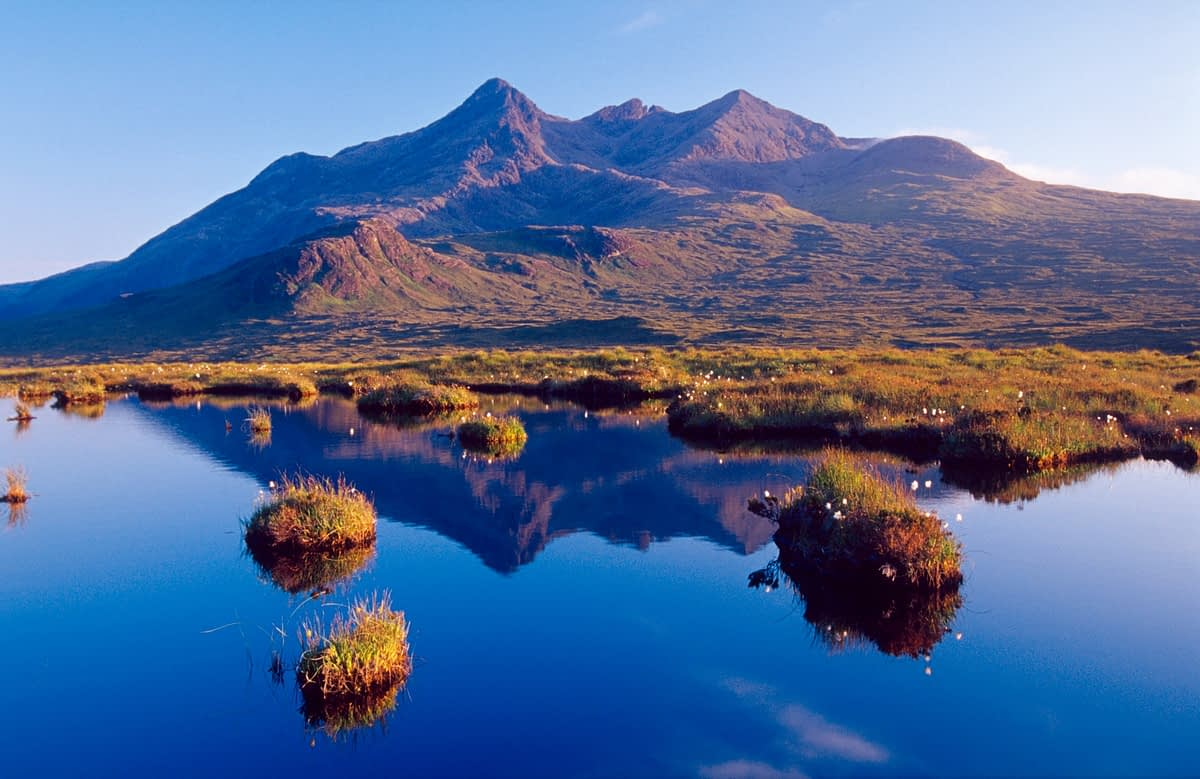 Reflection of the Black Cuillin from Glen Sligachan, Isle of Skye, Scotland.
