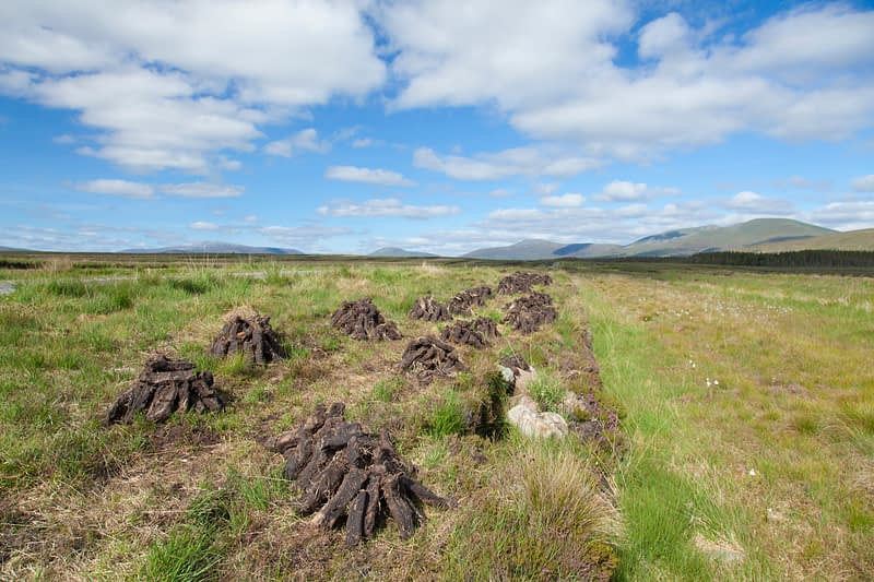 Turf drying beneath the Nephin Beg Mountains, County Mayo, Ireland.
