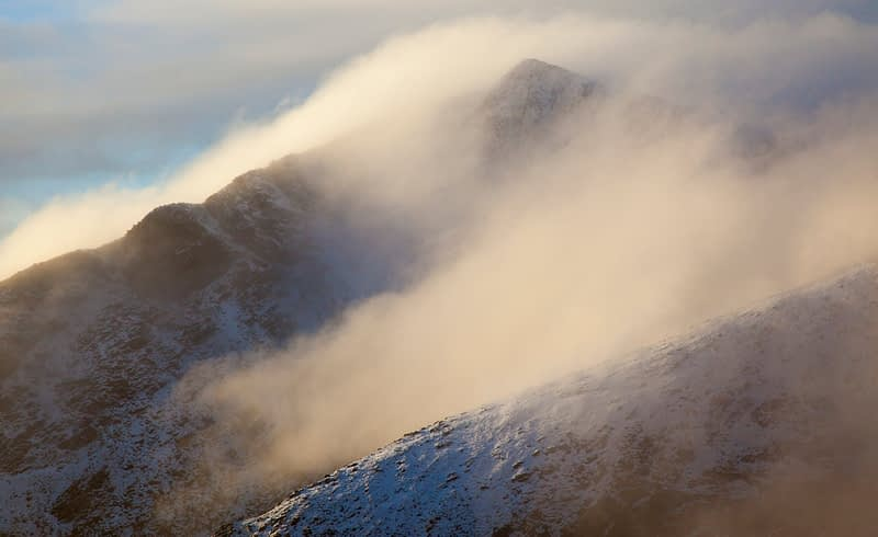 Winter cloud along the ridges of Brandon Peak, Dingle Peninsula, County Kerry, Ireland.