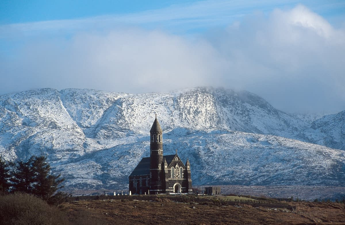 Dunlewy Church in winter, Co Donegal, Ireland.