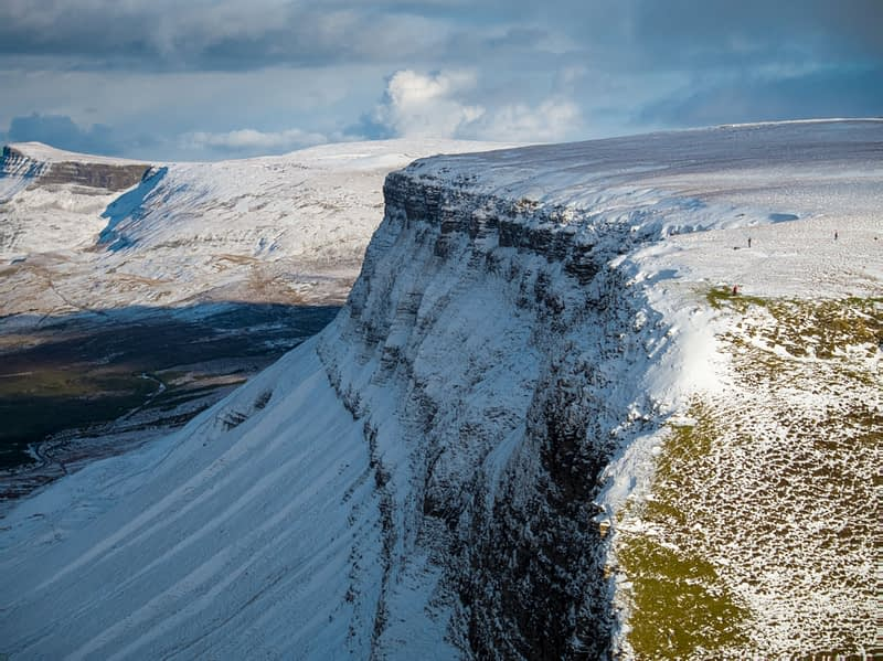 Aerial view of Benbulbin Mountain in winter, County Sligo, Ireland.