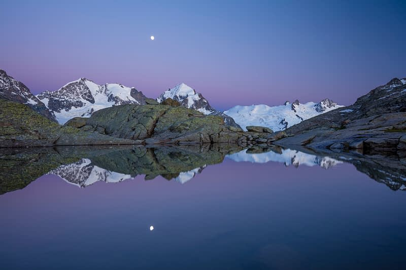 Moonrise over Piz Bernina and Piz Rosbeg, Fuorcla Surlej, Berniner Alps, Graubunden, Switzerland.