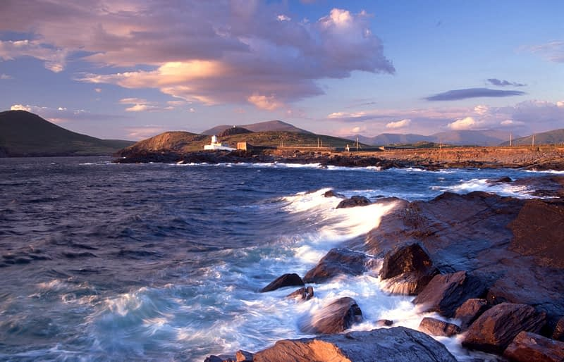 Evening light over Cromwell Point lighthouse, Valentia Island, Co Kerry, Ireland.