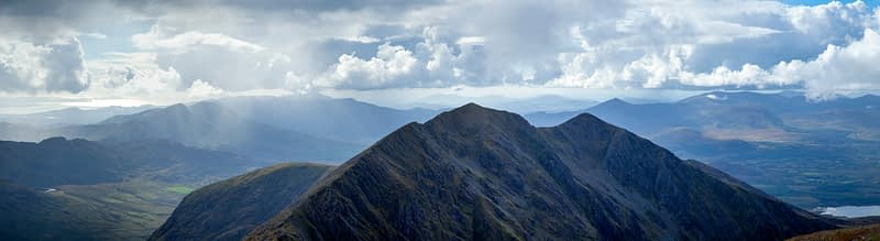 Panorama of Caher and south Kerry from Carrauntoohil, MacGillycuddy's Reeks, County Kerry, Ireland.