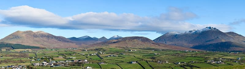 Panorama of the Mourne Mountains, Co Down, Northern Ireland.
