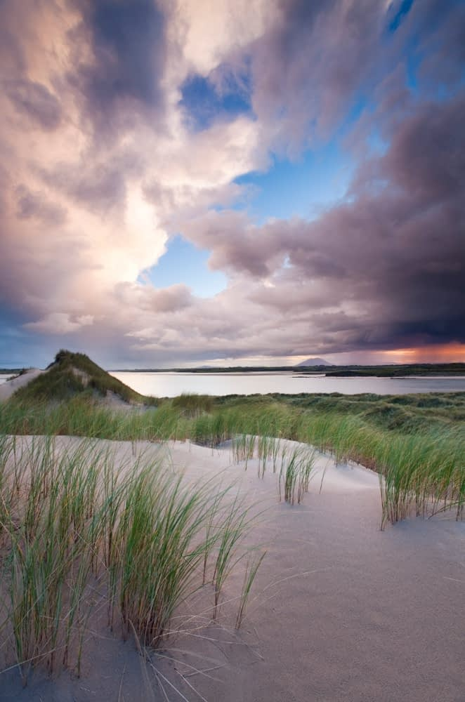 Enniscrone dunes at sunset, Co Sligo, Ireland.