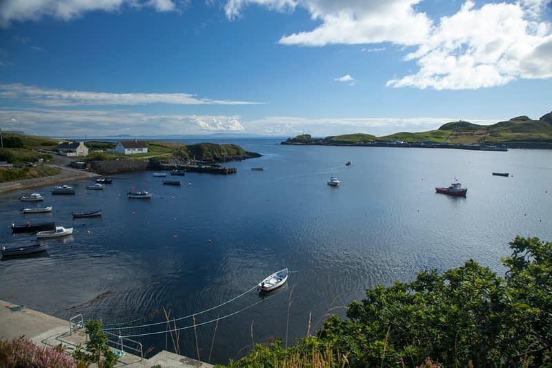 Boats moored in Teelin Bay, County Donegal, Ireland.