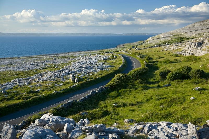 Coast road near Fanore, The Burren, Co Clare, Ireland.