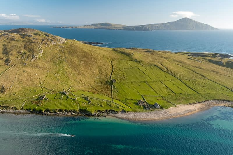 Aerial view of Achillbeg Island, County Mayo, Ireland.