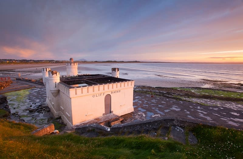 The old seaweed baths at sunset, Enniscrone, Co Sligo, Ireland.