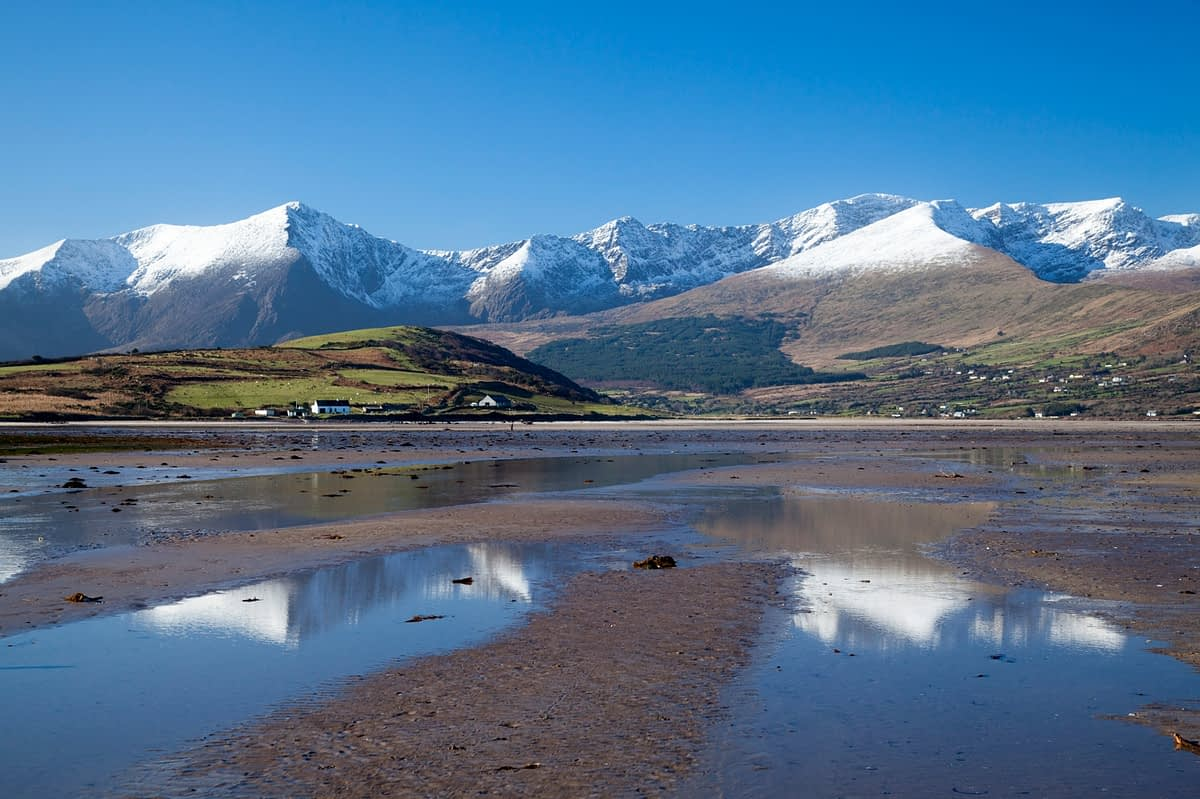 The Brandon massif reflected in Brandon Bay, Dingle Peninsula, County Kerry, Ireland.