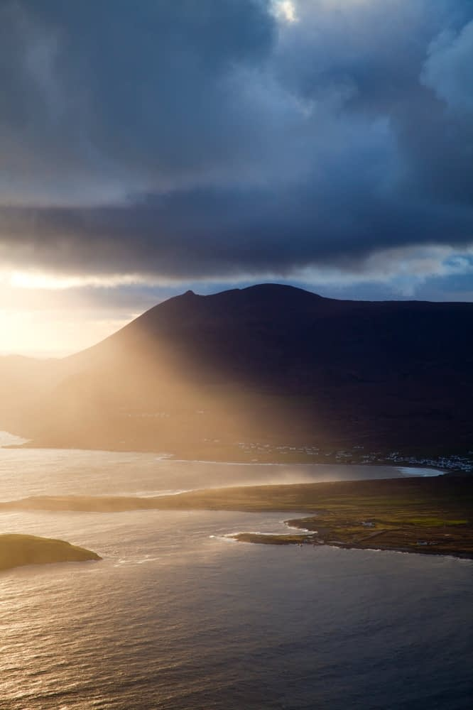 Evening light over Croaghaun, Achill Island, Co Mayo, Ireland.