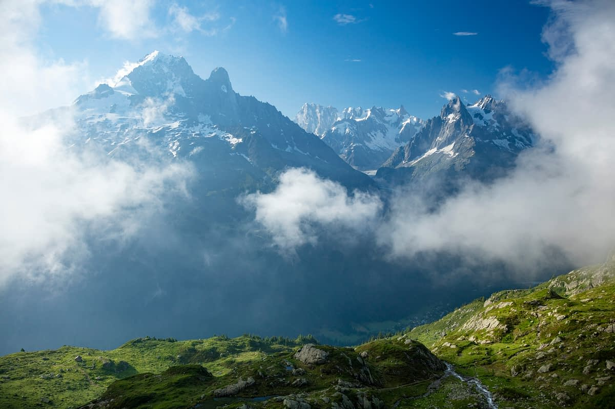 Aiguille Verte rises across the Chamonix Valley, French Alps, France.