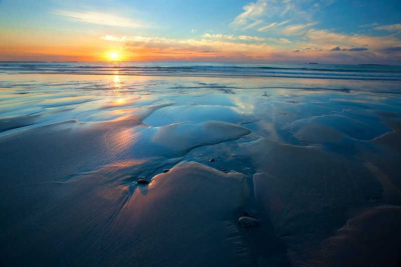 Sunset at Elly Bay Beach, Belmullet Peninsula, Co Mayo, Ireland.