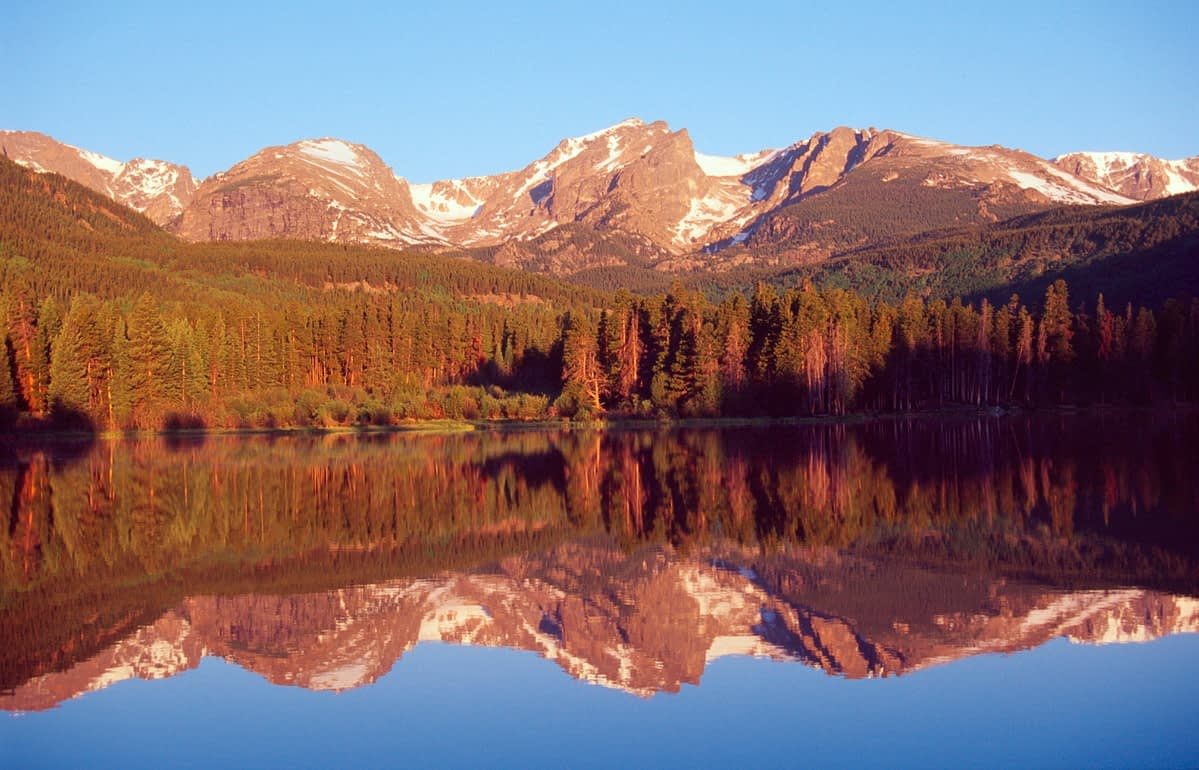 Dawn reflections in Sprague Lake, Rocky Mountain National Park, Colorado, USA.
