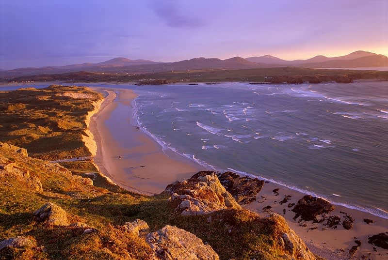 Evening light over Trawbreaga Bay, Inishowen Peninsula, Co Donegal, Ireland.