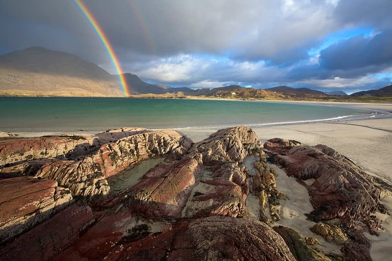 Rainbow over Glassillaun Beach, Connemara, Co Galway, Ireland.