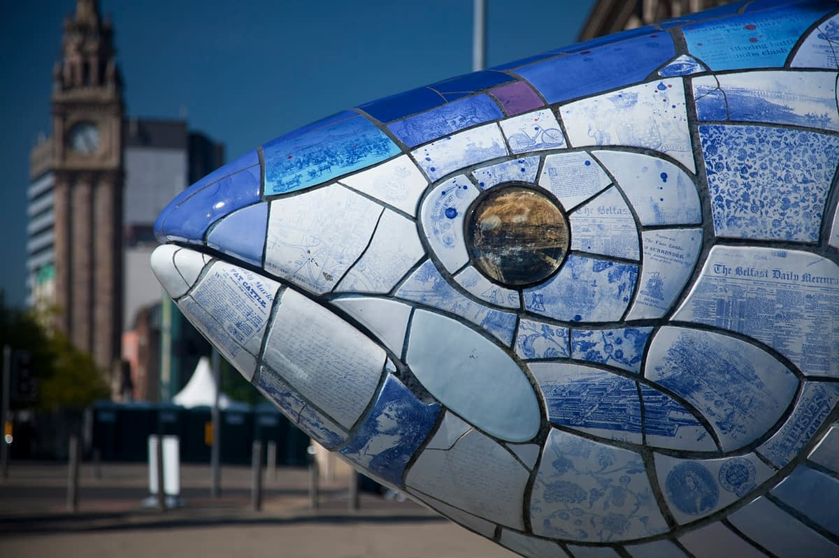 The Big Fish sculpture, Belfast Waterfront, Co Antrim, Northern Ireland.