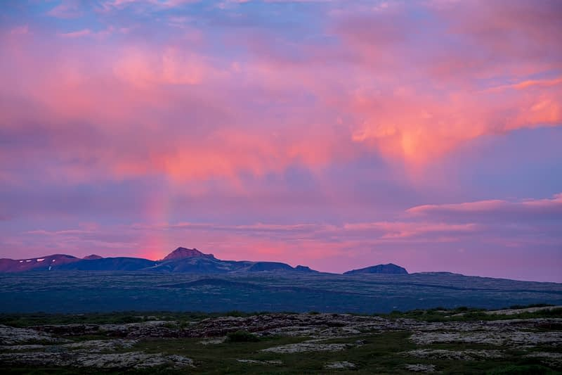 Mountain sunset from Pingvellir National Park, Iceland.