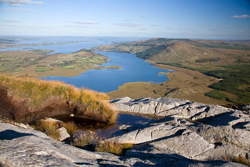 View over Lough Corrib from the summit of Lackavrea, Co Galway, Ireland.