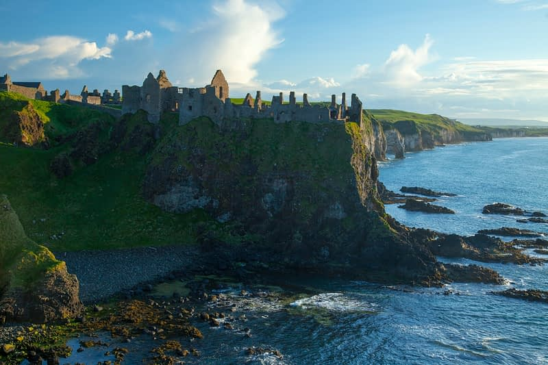 Evening at Dunluce Castle, Causeway Coast, County Antrim, Northern Ireland.